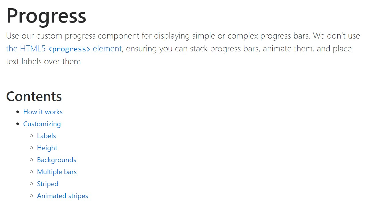 Bootstrap progress bar official  information