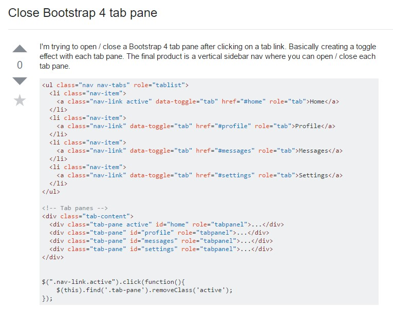 Tips on how to  close up Bootstrap 4 tab pane