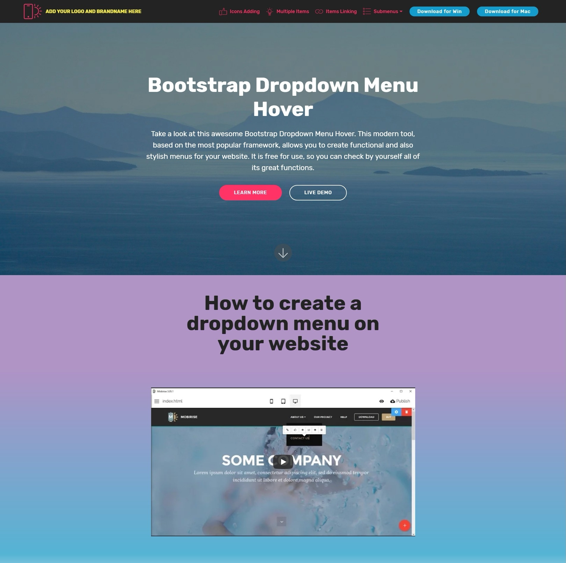 HTML5 Bootstrap Dropdown Menu Hover Demo